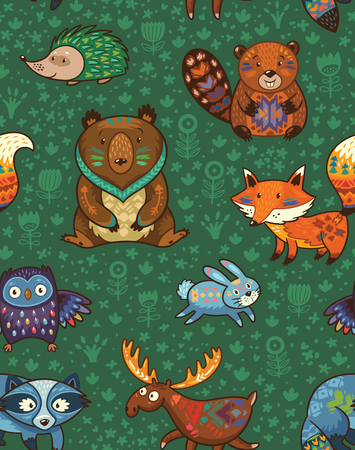 Woodland friends forest animals in green background. pattern of cute wild animals in the forest - fox, beaver, raccoon, bear, hedgehog, deer and owl.