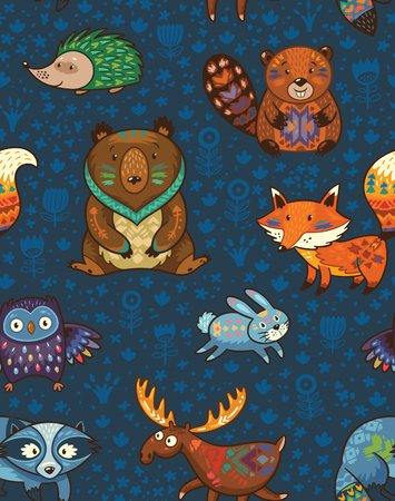 Woodland friends forest animals in dark blue background. pattern of cute wild animals in the forest - fox, beaver, raccoon, bear, hedgehog, deer and owl. Stock Illustratie