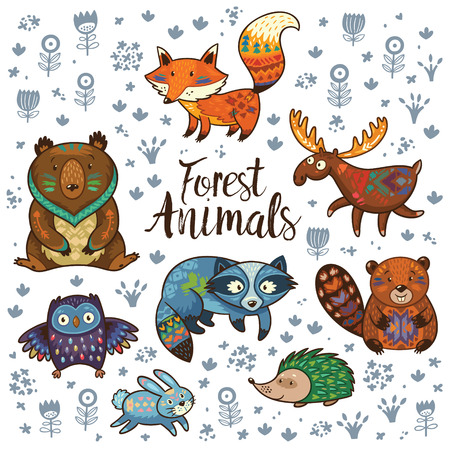 Set of cute woodland animals isolated on white background. Woodland tribal animals cute forest and nature design elements. Woodland nursery wall art.
