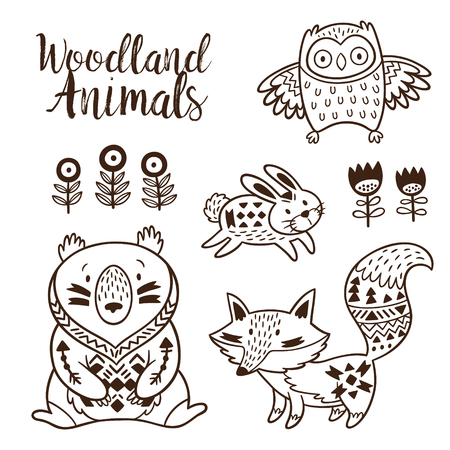 Woodland Animal Coloring Pages for Kids. Hand drawn on a white background. Coloring book. Ornamental tribal patterned illustration for tattoo, poster, print. Tribal animal coollection of bear, rabbit, owl and fox