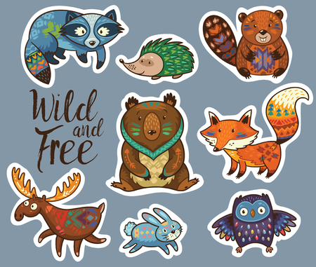 cartoon forest: Collection of stickers with woodland tribal animals in cartoon style. Cartoon forest animals set sticker with fox, beaver, raccoon, bear, hedgehog, deer and owl. Illustration