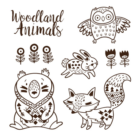 Coloring Book Ornamental Tribal Patterned Illustration For Tattoo Poster Print Animal Coollection Of Bear Rabbit Owl And Fox