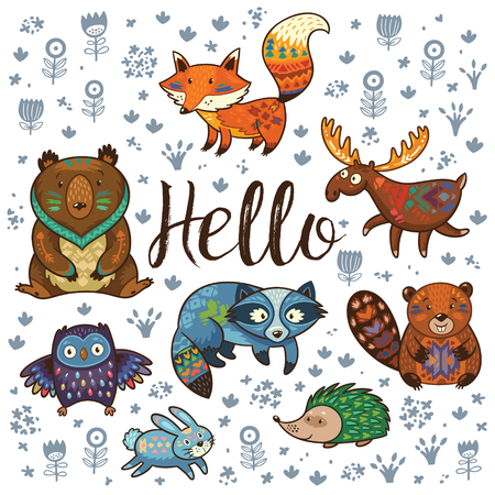 Set of cute woodland animals isolated on white background with text Hello. Woodland tribal animals cute forest and nature design elements vector. Great for a nursery, playroom, kindergarten decor.