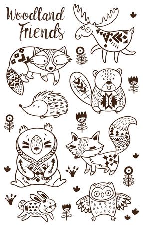 子供のための森林動物彩色のページ。白地に手描き下ろしベクトル。塗り絵。装飾的なトライバル パターン タトゥーのイラスト ポスター、印刷。