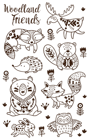 Woodland Animal Coloring Pages for Kids. Hand drawn vector on a white background. Coloring book. Ornamental tribal patterned illustration for tattoo, poster, print. Tribal animal coollection of deer, raccoon, beaver and hedgehog, deer, raccoon, beaver and Ilustração