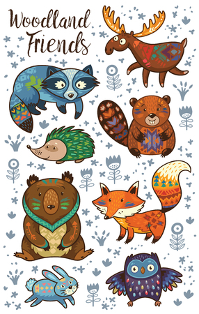 Set of cute woodland animals isolated on white background. Woodland tribal animals cute forest and nature design elements vector. Woodland nursery wall art with fox, beaver, raccoon, bear, hedgehog, deer and owl Çizim
