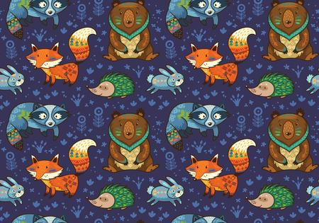 ウッドランド友人暗い青色の背景の動物を森します。フォレスト - フォックス、ビーバー、アライグマ、クマ、ハリネズミ、鹿とフクロウのかわいい部族の動物のベクトル パターン。ベクトル図 写真素材 - 58720218