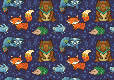 Woodland friends forest animals in dark blue background. Vector pattern of cute tribal animals in the forest - fox, beaver, raccoon, bear, hedgehog, deer and owl. Vector illustration