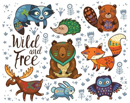 Reeks leuke bos dieren geïsoleerd op een witte achtergrond met tekst Wild and Free. Woodland tribal dieren leuke bos en natuur design elementen vector. Woodland kwekerij kunst aan de muur met vos, bever, wasbeer, beer, egel, herten en uil Stock Illustratie