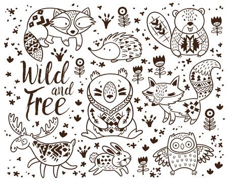어린이를위한 숲 동물 색칠 페이지입니다. 손 흰색 배경에 벡터를 그려. 색칠하기 책. 문신, 포스터, 인쇄 장식 부족의 패턴입니다. 사슴, 너구리, 비버 일러스트