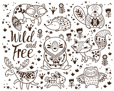 Woodland Animal Coloring Pages for Kids. Hand drawn vector on a white background. Coloring book. Ornamental tribal patterned illustration for tattoo, poster, print. Tribal animal coollection of deer, raccoon, beaver and hedgehog, deer, raccoon, beaver and Vettoriali