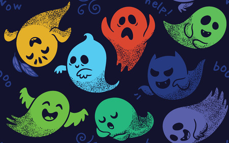 haunt: Cute spooky ghosts on dark blue background. Seamless vector pattern with ghosts child drawing style. Ghosts with Different Expressions