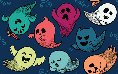hoax: Cute spooky ghosts on dark blue background. Seamless vector Halloween pattern with ghosts child drawing style. Ghosts with Different Expressions