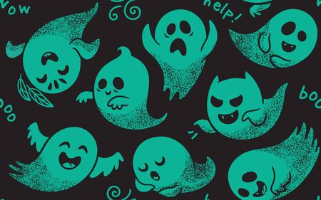 haunt: Cute green spooky ghosts on black background. Seamless vector Halloween pattern with ghosts child drawing style. Ghosts with Different Expressions