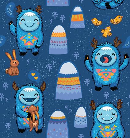 Seamless vector pattern avec des monstres mignons, des montagnes, des lapins et des oiseaux. fond enfantin impressionnant. seamless Belle pour les enfants conçoit sur fond bleu