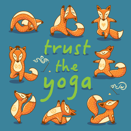 Hand lettering calligraphic inspiration card with cartoon foxes doing yoga poses. Trust the Yoga poster or postcard. Vector illustration Stock Illustratie
