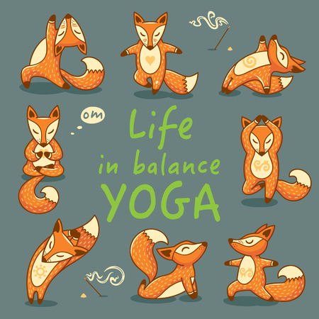 yoga poster: Hand lettering calligraphic inspiration card with cartoon foxes doing yoga poses. Life in balance Yoga poster or postcard. Vector illustration Illustration