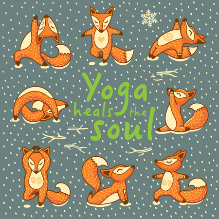 heals: Hand lettering calligraphic inspiration card with cartoon foxes doing yoga poses. Yoga heals the soul poster or postcard. Vector illustration
