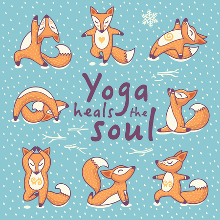 Hand lettering calligraphic inspiration card with cartoon foxes doing yoga poses. Yoga heals the soul poster or postcard. Vector illustration