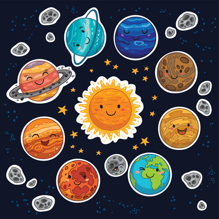 Set of stickers with cute smiling planets, stars and moon. Vector illustration Illustration