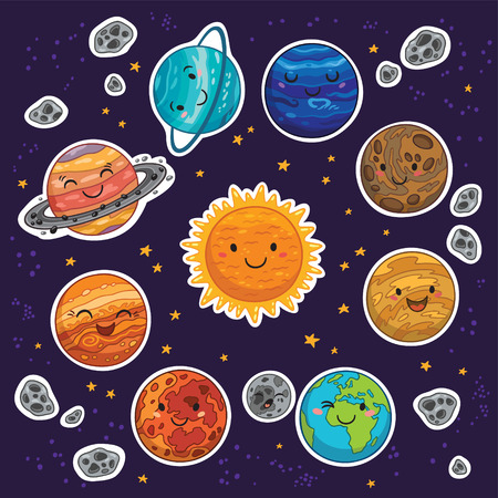 cosmo: Set of stickers with cute smiling planets, stars and moon. Vector illustration Illustration