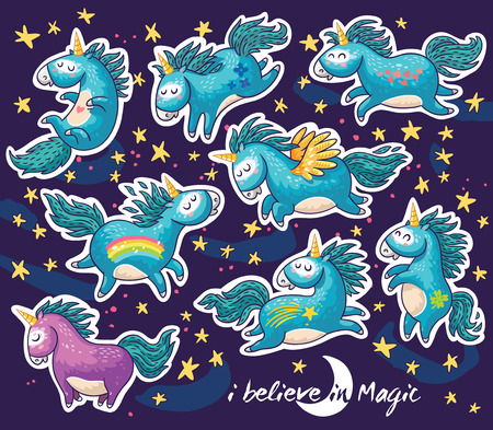 cartoon stars: Sticker collection with unicorn, rainbow, stars, decor elements and text. I believe in Magic. Character design. Vector illustration of a cute flying unicorns