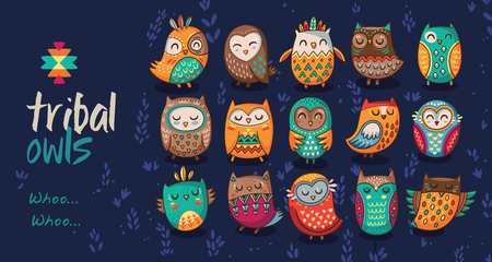 Cute indian hand drawn owl characters. Collection of owls. Vector illustration