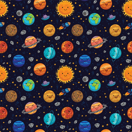 cosmo: Seamless pattern with hand drawn cartoon astro collection - Sun, Mercury, Venus, Earth, Mars, Jupiter and Saturn, Uranus and Neptune. Childish background. Vector illustration.