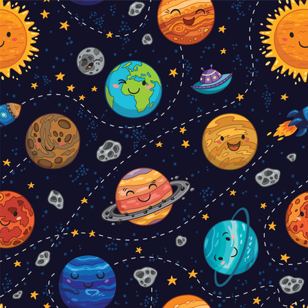 neptune: Seamless children cartoon space pattern with rockets, planets, stars and dashed traces over the dark night sky background. Set of Solar system planets - Mercury, Venus, Earth, Mars, Jupiter and Saturn, Uranus and Neptune. Illustration