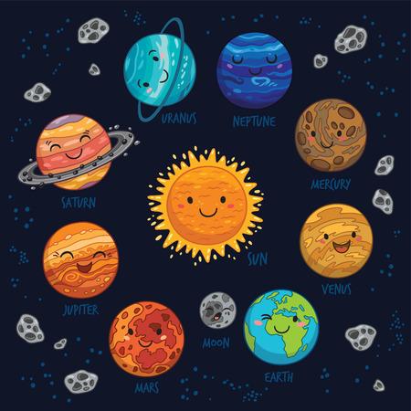 太陽光発電システム - 太陽、水星、金星、地球、火星、木星、土星、天王星、海王星の惑星の漫画。惑星ベクトルを設定します。惑星コレクション   イラスト・ベクター素材