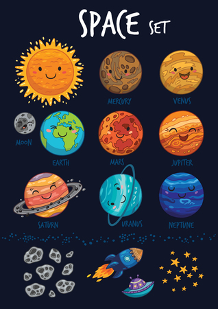 Space set of planets and stars, ufo, rockets, comet and meteorite. Cosmos. Vector illustration. Cartoon icons. Cute animal and alien Vettoriali