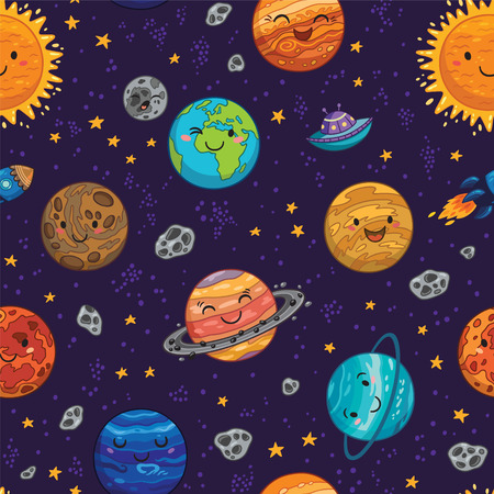 Seamless pattern with hand drawn cartoon collection - Sun, Mercury, Venus, Earth, Mars, Jupiter and Saturn, Uranus and Neptune. Childish background.