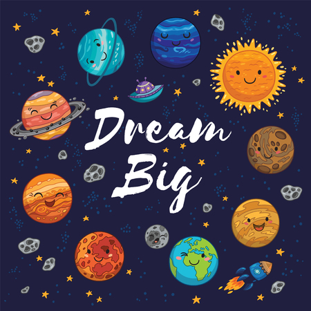 Dream big. Awesome card with lovely planets, moon, spaceship, starts and comets. Fantastic childish background in bright colors 向量圖像