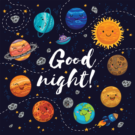 cosmo: Good night. Awesome card with lovely planets, moon, spaceship, starts and comets. Fantastic childish background in bright colors