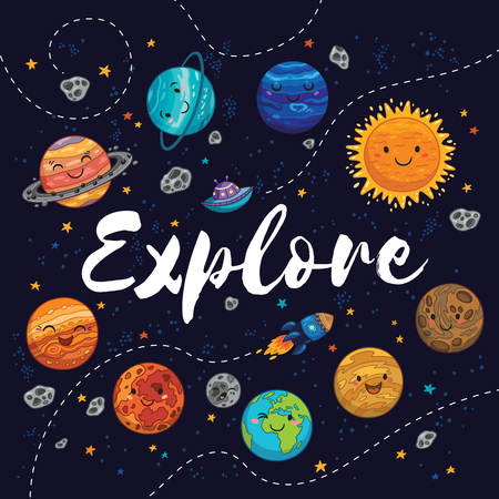 cosmo: Explore . Awesome card with lovely planets, moon, spaceship, starts and comets. Fantastic childish background in bright colors