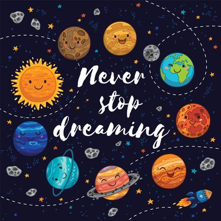 夢を停止することはありません。素敵な惑星、月、宇宙船、開始彗星と素晴らしいカード。明るい色の幻想的な幼稚な背景 写真素材 - 59166481