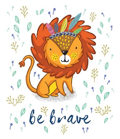 漫画の文字楽しいライオン。ライオン印刷本文 - 面白い漫画は勇敢になります。部族の羽を持つ文字ジャングルの野生のライオン 写真素材 - 59166483