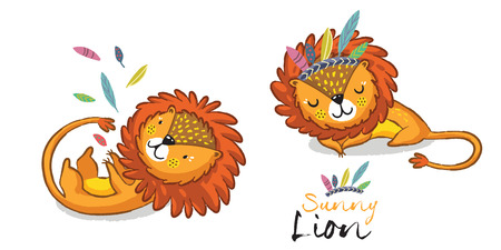 Cartoon lion action set, king of the jungle. With playful lion, sleeping lion illustration.