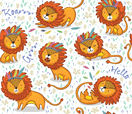 children room: Lions seamless background. Cartoon lions, king of the jungle. Perfect for cards, invitations, party, banners, kindergarten, preschool and children room decoration