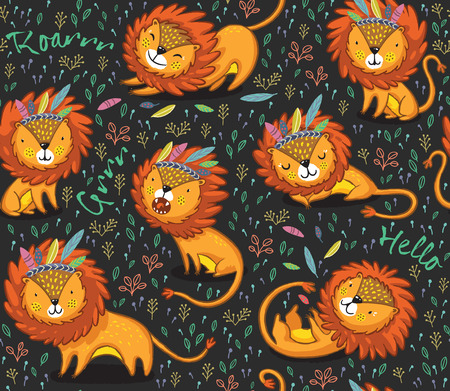 Lions seamless background. Cartoon lions, king of the jungle. Perfect for cards, invitations, party, banners, kindergarten, preschool and children room decoration
