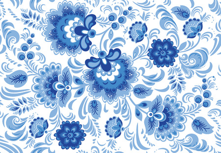 Flower seamless pattern with elements of folk gzhel style or Chinese porcelain painting. White and blue background.
