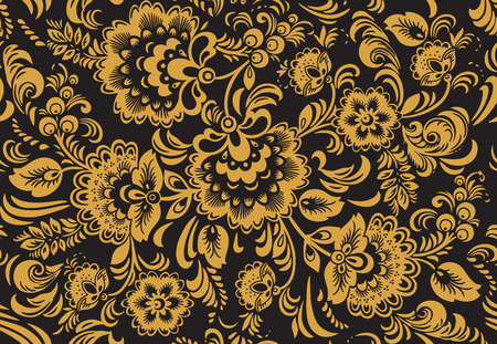 hohloma: Seamless floral pattern with ornamental flowers in Khokhloma style. Floral design. Traditional russian Hohloma ornament with flowers in gold, yellow and black colors.