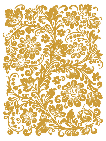 russian: Traditional Russian ornament with elements of folk Khokhloma style. A floral print in gold colors.