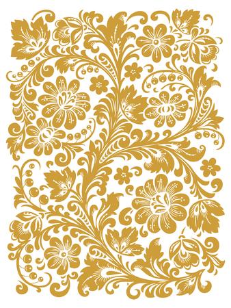 Traditionelle russische Ornament mit Elementen der Volks Khokhloma Stil. Ein Blumendruck in Goldfarben.