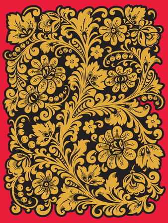 khokhloma: Traditional Russian ornament with elements of folk Khokhloma style. A floral print in gold colors.