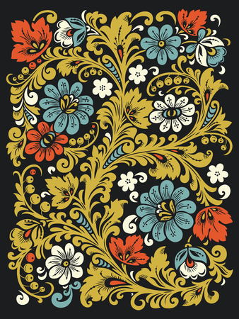 khokhloma: Traditional Russian ornament with elements of folk Khokhloma style. A floral print in bright colors. Illustration