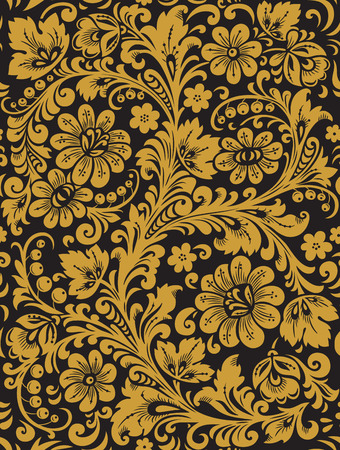 Flower seamless pattern with elements of folk Khokhloma style. A floral pattern in black and golden colours.