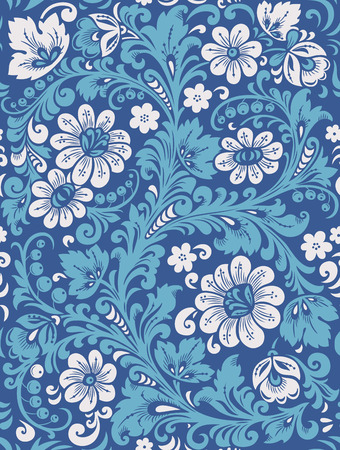 Flower seamless pattern with elements of folk Gzhel style. A floral pattern in blue and white colours. Vector illustration.
