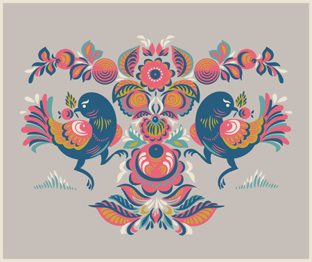 two birds: Folk Gorodets print in Russian Style. A floral pattern with two birds. Traditional art in in pink, yellow, blue colors