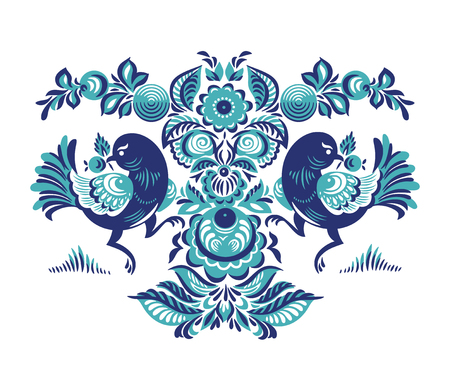 two birds: Folk Gorodets print in Russian Style. A floral pattern with two birds. Traditional vector art in blue colors